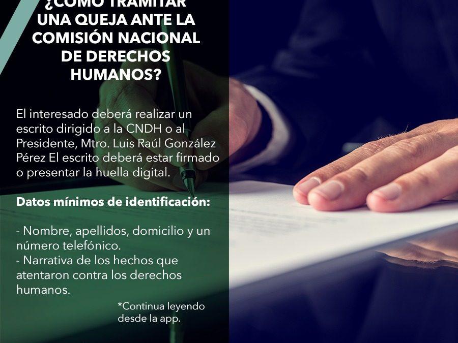 ¿Cómo tramitar una queja ante la Comisión Nacional de Derechos Humanos?