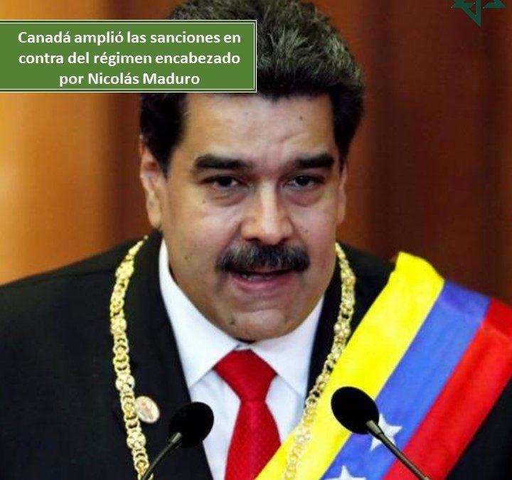 Canadá amplió las sanciones en contra del régimen encabezado por Nicolás Maduro