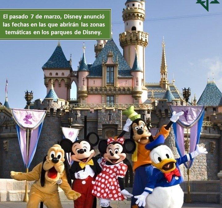 Disney anunció las fechas en las que abrirán las zonas temáticas en los parques de Disney